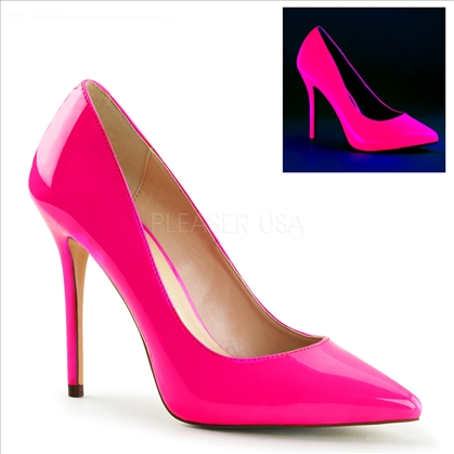 The secret 3/8 inch hidden platform which adds comfort by reducing the slope of the 5 inch stiletto heel. Featuring neon fuchsia patent leather and a pointed toe.