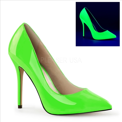 These shoes have a 3/8 inch hidden platform which adds comfort by reducing the slope of the 5 inch stiletto heel.  Available in neon green patent leather.