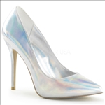 Featured here in silver hologram and a pointed toe, these glamour girl shoes have a 3/8 inch hidden platform and 5 inch stiletto heel.