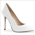 Featured here in white patent leather and a pointed toe, these glamour girl shoes have a 3/8 inch hidden platform which adds comfort to the 5 inch stiletto heel.