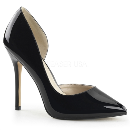 The 3/8 inch hidden platform is featured in these D'Orsay pumps in black patent leather. The pointed toe is sharp with these shoes having an open side look.