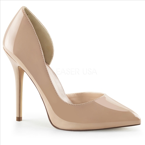 Here is a nude color the D'Orsay pump with a 5 inch stiletto heel and pointed toe. The stylish open inner side of the shoe is featured here with its 3/8 inch platform.