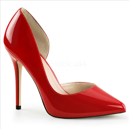 With a 5 inch stiletto heel,  these hot red D'Orsay pumps are styled with an open inner insole. They have a 3/8 inch hidden platform along with the pointed toe.