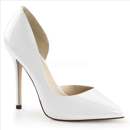 The open inner side of the shoe is flashy with these white patent leather, 5 inch stiletto heel, pointed toe with the 3/8 inch hidden platform.