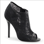 Our shoe is so glamorous it's hard to believe how durable this black lace mesh Victorian style shoe is. With its appealing open toe and soft black patent leather trim.