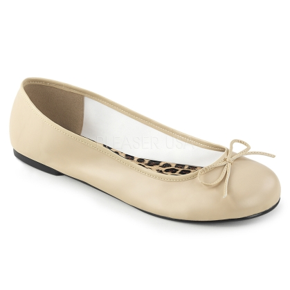 Dance or just for comfort are these cream faux leather adult ballet flats with a bow accent and classic style. These are easy to wear and very comfortable.