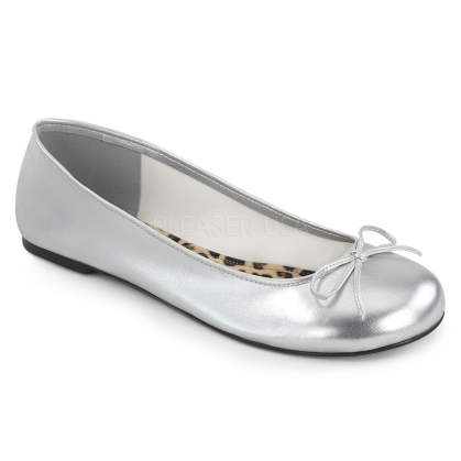 Wear these silver metallic adult ballet flats with a costume or for your dance act. Accented with a classic bow and open style these shoes are easy to slip on.
