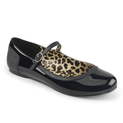 Awesome are these Mary Jane ballet flats in black patent leather design. The thin ankle strap has a nice buckle to hold while the open style makes them easy.