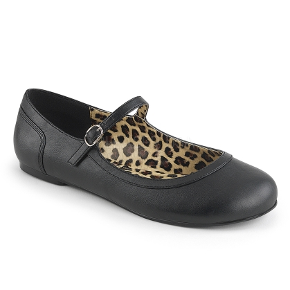 In black faux leather the Mary Jane ballet flats have a thin strap so your shoes are more secure when dancing and prancing. Very easy to put on and take off.