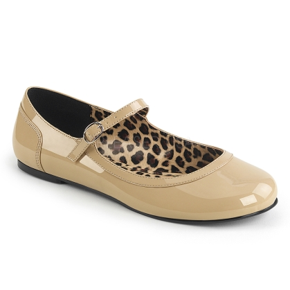 Dance or just wear for out and about, the Mary Jane ballet flats with a thin buckle strap are available in cream patent leather. Styled with a leopard print insole.