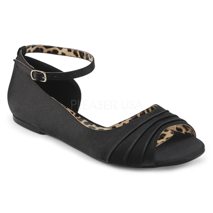 Ballet flats, simply comfortable flat shoes with a single sole. Featured here are the D'Orsay style black satin with the inner side open along with an open toe front.
