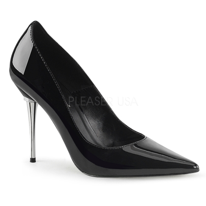 Subtle but suggestive are these chrome metal, 4 inch stiletto heel, pointed toe pumps in shiny black patent leather. The sharp pointed toe shoes appeal to danger.