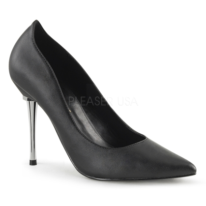 The 4 inch chrome metal stiletto heel is featured with these black faux leather pointed toe high heel pumps. Women that enjoy power wear these designer shoes.