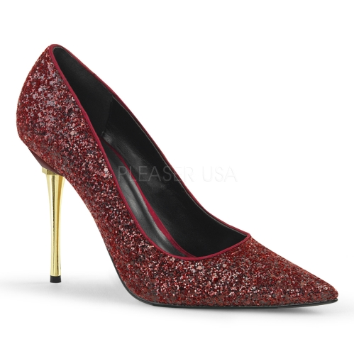 Try these saucy burgundy glitter, 4 inch stiletto heel pumps that speak party and dance. You'll want these unique shoes for those high fashion events.