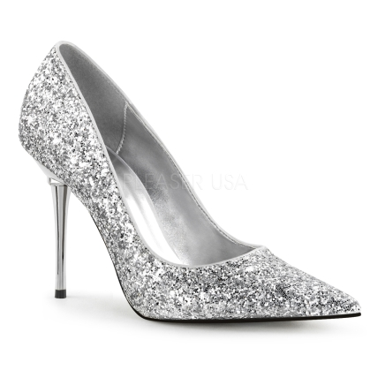 Diamonds and pearls match very well with these high-fashion silver glitter pumps. Displayed here with a 4 inch chrome stiletto heel, pointed toe, and silver insole.