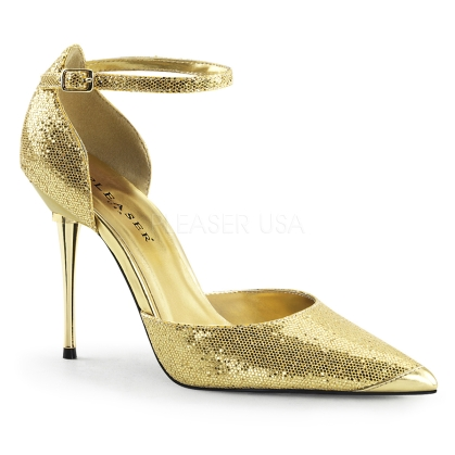 Turn up the desires with these all gold glittery D'Orsay pumps. Featured here with a 4 inch gold chrome stiletto heel, pointed toe, and gold ankle strap.