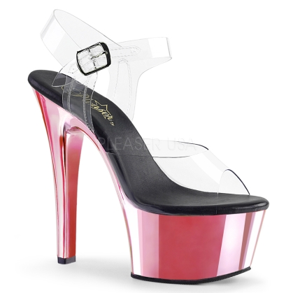 Pink Chrome Ankle Strap Pole Fitness Dance Shoe