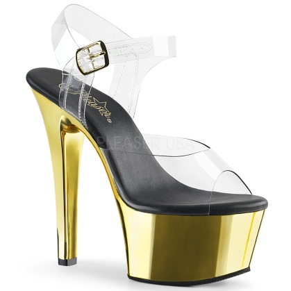Gold Chrome Ankle Strap Pole Fitness Dance Shoe