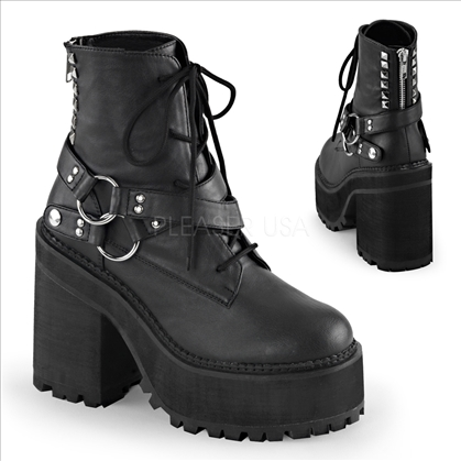 Stylish are these Demonia women's vegan boots. Shown here with the 4 3/4 inch block heel, 2 1/4 inch cleated platform, and lace up front black ankle boot.