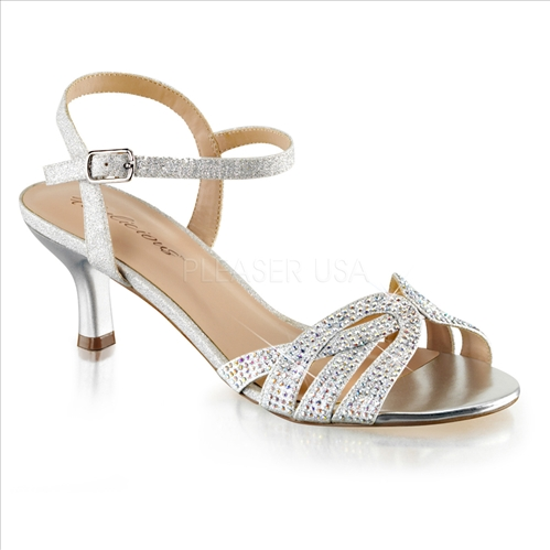 These comfortable wedding shoes have a crisscross AB Crystal rhinestones embellished vamp and a 2 1/2 inch heel.  The stylish silver flats are ideal for comfort.