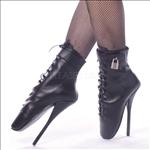 These steep heel to toe ankle boots are featured here in black leather with a 7 inch spike heel, ballet style design. This fetish shoe has a padlock.