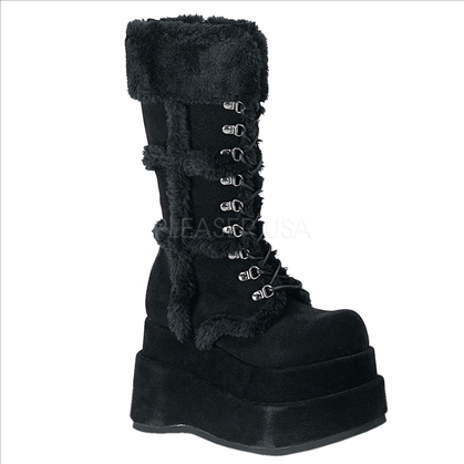 The 4 1/2 inch punk goth stack boot is made of all black vegan suede with the over the calf height.  Featured here with the silver loop, shoe string tie up.