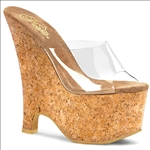 A wedge shoe will never go out of style especially the cork sandal, 6 1/2 inch wedge, and all clear vamp with open toe, sexy shoe. Wedges are very popular.