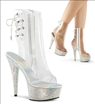 With its sparkling rhinestone platform and 6 inch stiletto heel this bejeweled shoe has a clear durable plastic upper with an open toe and open back.