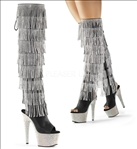 Fringe is in with these knee-high silver simulated rhinestone fringed exotic dance boots featuring black faux leather, multi-rhinestones encrusted heels.
