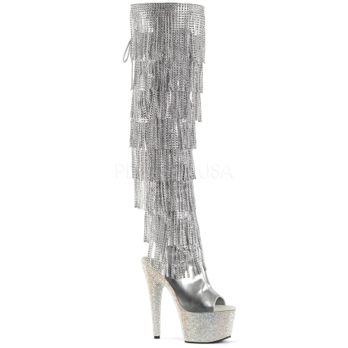 Bejeweled Metallic Silver Fringe Lace-Up Boot