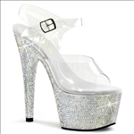 A favorite among exotic dancers are the 7 inch heel rhinestone bejeweled Pleaser shoes. The ankle strap and clear vamp are most popular.