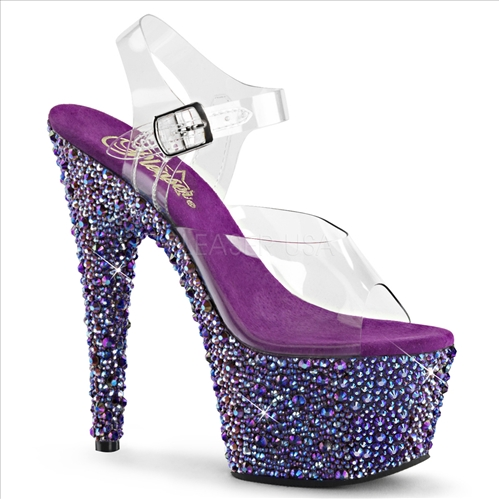 The multistones here reflect kind of a purple and multi-color with multiple rhinestone sizes on the full bottom of these 2 3/4 inch platform and 7 inch heels.