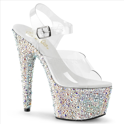The multistones here reflect kind of a silver and multi color with multiple rhinestone sizes on the full bottom of these 2 3/4 inch platform and 7 inch heels.