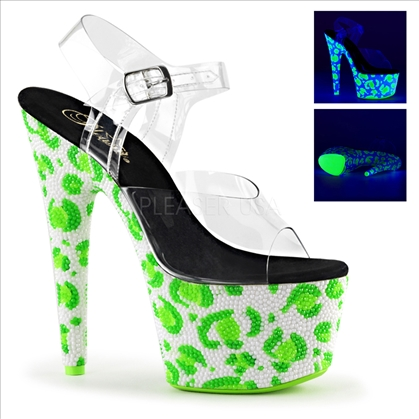 The unique design of these green on white leopard skin pattern and black light sensitive rhinestone bejeweled shoes have neon green rhinestones.