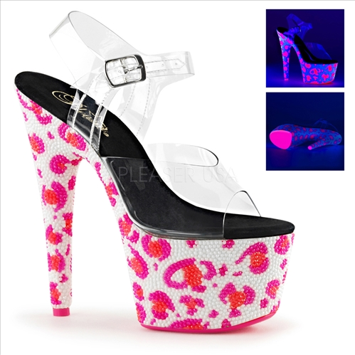 These pink on white leopard skin pattern and black light sensitive rhinestone bejeweled shoes have neon pink rhinestones covering the entire platform.