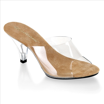 The highlight of these shoes are their low 3 inch heel along with its tan insole on clear/clear vamp style. The front of this shoe has tan vinyl.