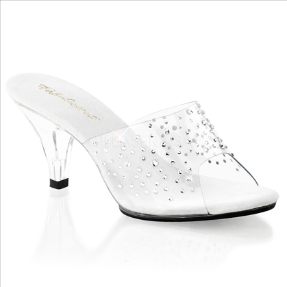 These clear slipper shoes with sprinkled rhinestones on the vamp would've been perfect for Cinderella.  Featuring a 3 inch low profile heel and strapless design.