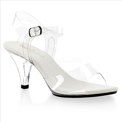 Our lowest heel posing shoe are these 3 inch, super sturdy, clear ankle strap sandals. With a flat sole and open toe design, these shoes are very comfortable.