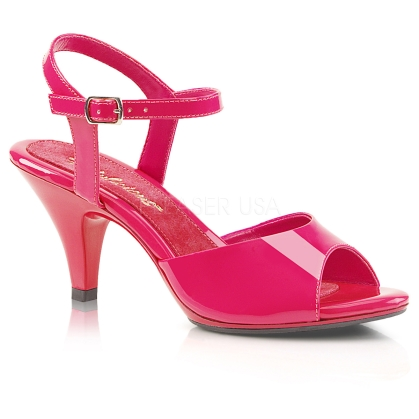 A simple but elegant shoe are these 3 inch heel, ankle strap sandals attractively featured here in hot pink patent leather with an open toe design.