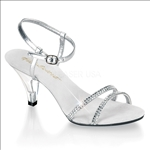A desired shoe featured here with a clear heel, silver metallic insole and silver straps. The vamp has 2 bands that are embellished with rhinestones.
