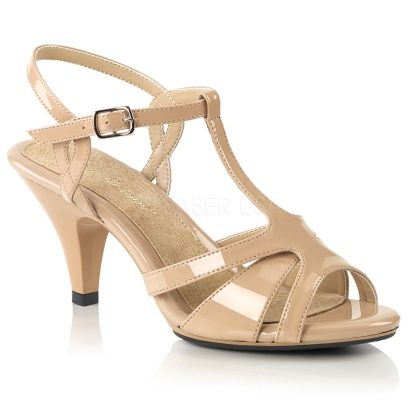 Cross-dressing is fun when you wear these low heel, low platform nude patent leather, T strap sandals. These shoes have a 3 inch heel, strappy vamp.
