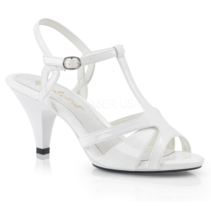 Cross-dressing is fun when you wear these low heel, low platform white patent leather, T strap sandals. 3 inch heel, strappy vamp and a crisscross ankle strap.