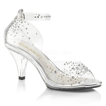 3 inch heel and 1/8 inch platform of these close back, open toe, ankle strap sandals featuring instep cut out and rhinestone embellishment on the vamp and shoe.