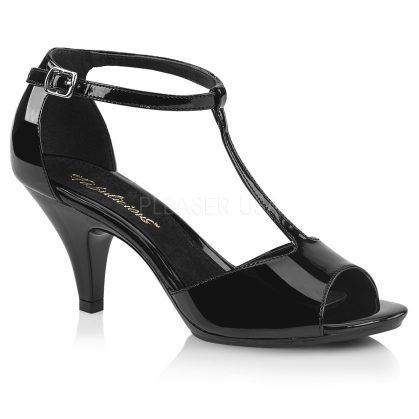 No awkward moments in these T strap sandals. Featured here with a 3 inch heel, 1/8 inch platform and thin ankle strap on the close back in black patent leather.