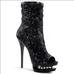 These New York fashion boots are styled with black sequins and feature rhinestone accents in the mid-platform of these full inner side zipper midcalf boots.