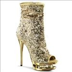 These New York fashion boots are styled with gold sequins and feature rhinestone accents in the gold mid-platform of these full inner side zipper midcalf boots.