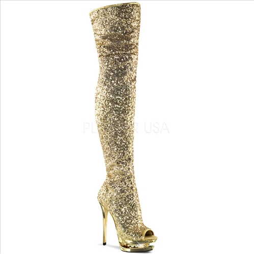 West Coast design are these thigh high boots that feature gold sequence on gold with rhinestones embellishment in the mid-platform.