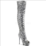 West Coast design are these thigh high boots that feature silver sequence on silver with rhinestones embellishment in the mid-platform.