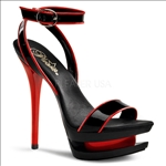 Enjoy your cruise in these wraparound 2 toned ankle strap sandals with contrasting piping. Black and red patent leather with black and red straps Pleaser sandals.
