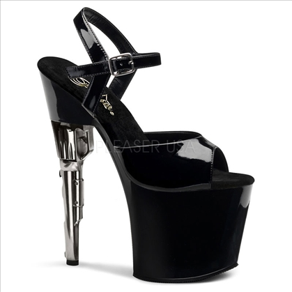 7 1/2 inch gun heel has a 2 1/2 inch platform and has a black patent ankle strap and black patent vamp. The all black stripper shoes are secret agent ready.